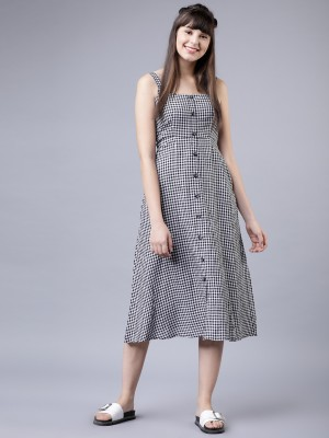 Checked Fit And Flare Dress