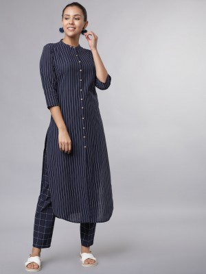 Striped Regular Fit Kurta Sets