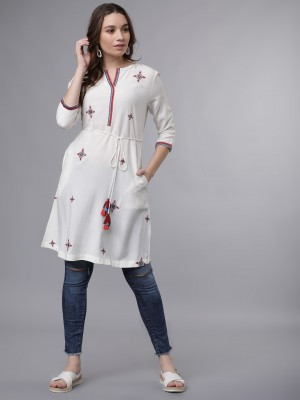 Round Neck Embroidered Tunic
