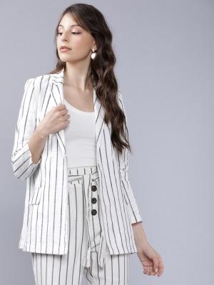 Off White/Black Striped Blazer