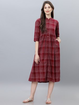 Checked A-Line Dress