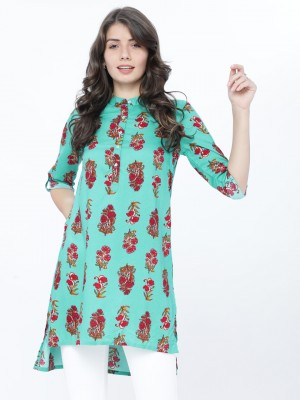 Mandarin Collar Printed Tunic