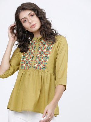 Solid Ethnic Motifs Empire Top