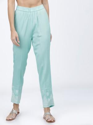 Women Aqua Blue Regular Fit Solid Trousers