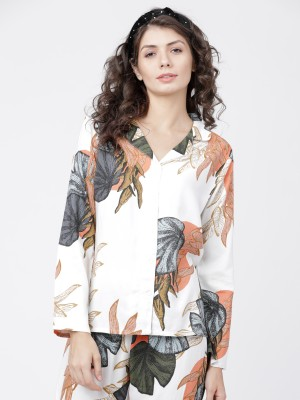 Beige/Green Printed Lounge Shirt