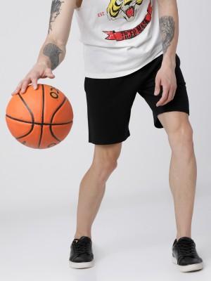 Black Knitted Regular Shorts