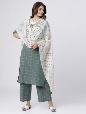 Green/Cream Printed Cotton Dupatta