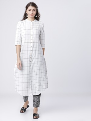 Curved Checked Checked Kurtas