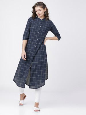 Navy Blue/Off White Straight Kurta