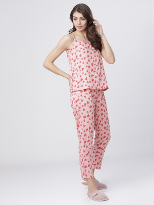 Pink/Red  Printed Lounge Cami Top With Lounge Pant
