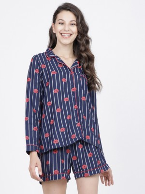 Navy Blue/Red Printed Sleep Shirt With Lounge Short