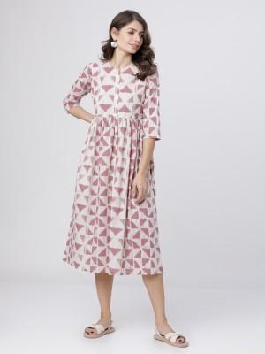 Beige/Pink Midi Dress