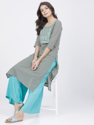 Grey/Coral Straight Kurta