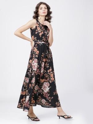 Black Floral Sleeveless Maxi Dress