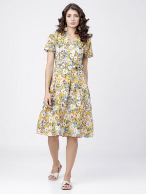 Mustard Floral Wrap Midi Dress