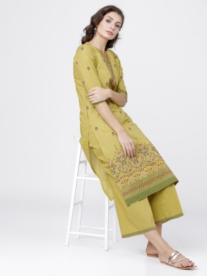 Yellow Straight Kurta With Palazzo