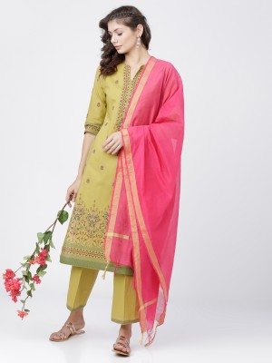 Yellow Straight Kurta With Palazzo And Dupatta