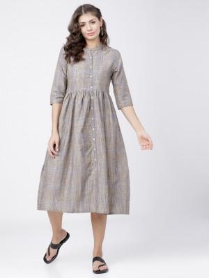 Grey/Yellow Midi Dress