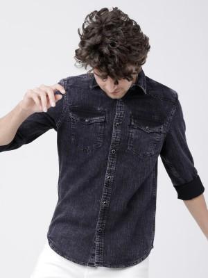 Black Double Flap Pocket Faded Shirt