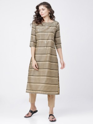 Beige/Black Straight Kurta