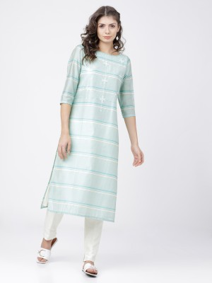 Cream/Turq Straight Kurta