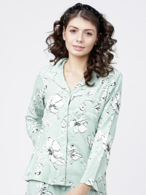 Light Mint Printed Sleep Shirt