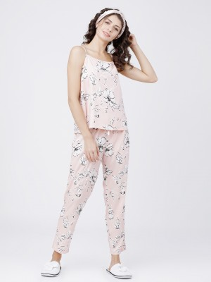 Peach/White Printed Cami Top With Lounge Pant