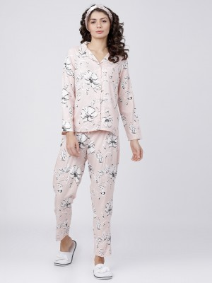 Peach/White Printed Shirt With Lounge Pant