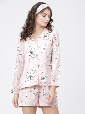 Peach/White Printed Shirt With Lounge Short