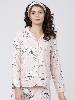 Peach White Printed Sleep Shirt
