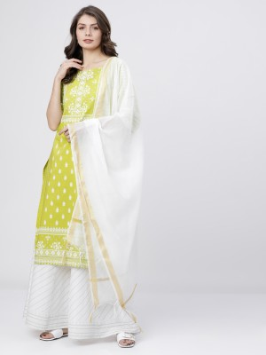 Lime/Off White Straight Kurta With Skirt And Dupatta