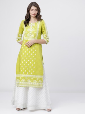 Lime/Off White Straight Kurta With skirt