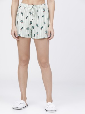 Lt Mint/Green Printed Lounge Shorts