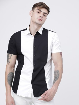 Locomotive Mens  Black/White Solid Casual Shirt