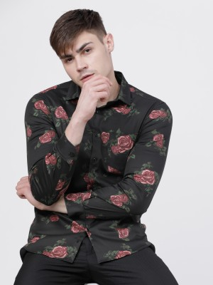 Black/Maroon Printed Casual Shirt