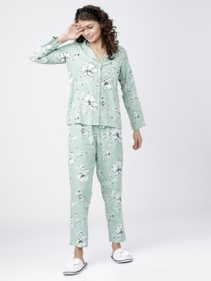 Light Mint Printed Shirt With Lounge Pant