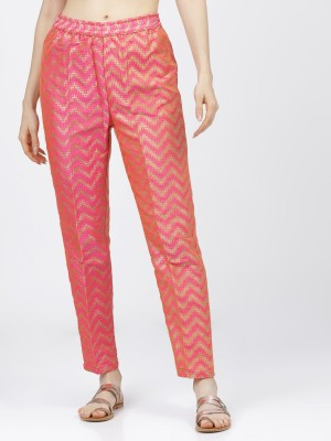 Women Pink & Gold Regular Fit Printed Trousers