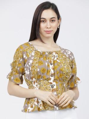 Printed Floral Blouson Top