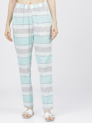 Womens Cream/Turquoise Regular Fit Trousers
