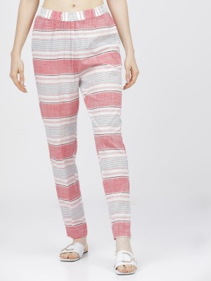 Womens Cream Coral Regular Fit Trousers