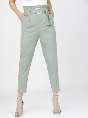 Solid Tapered Fit Trousers