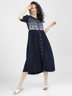 Solid A-Line Dress