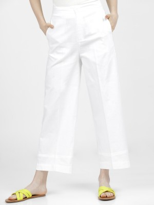 Solid Straight Fit Trousers