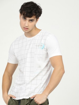 Checked Round Neck Tshirt
