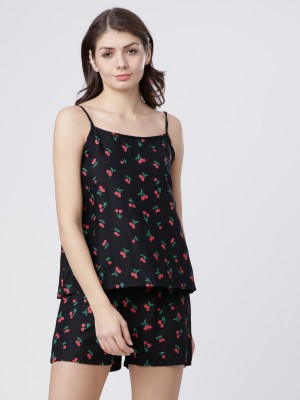 Black/Red Printed Lounge Top With Lounge Short