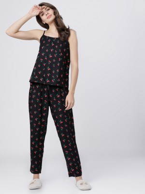 Black/Red Printed Lounge Top With Lounge Pant