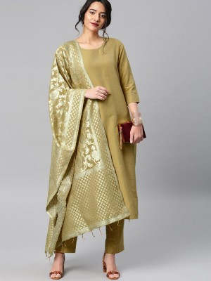 Solid Regular Fit Kurta Sets With Dupatta